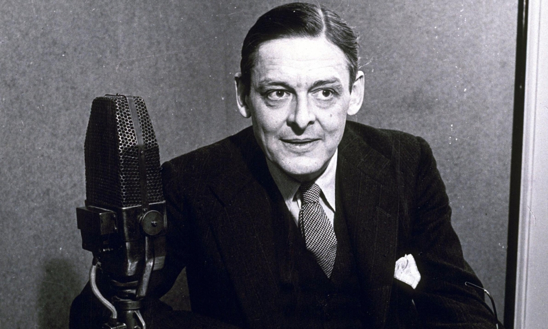 TS Eliot, photographed in front of a microphone, 1941
